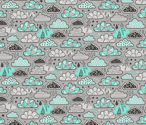 Clouds Bolts Lightning Raindrops Geometric Patterned Cloud Doodle Mint Green on Grey fabric by caja_design on Spoonflower - custom fabric