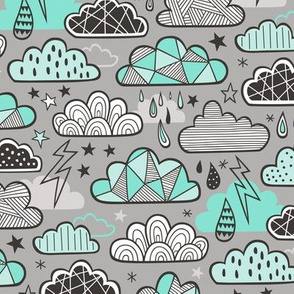 Clouds Bolts Lightning Raindrops Geometric Patterned Cloud Doodle Mint Green on Grey
