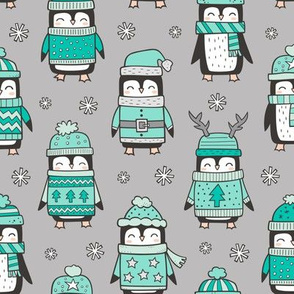 Christmas Holiday Winter Penguins in Ugly Sweaters Scarves & Hats Mint Green On Grey