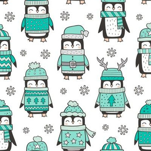 Christmas Holiday Winter Penguins in Ugly Sweaters Scarves & Hats Mint Green On White
