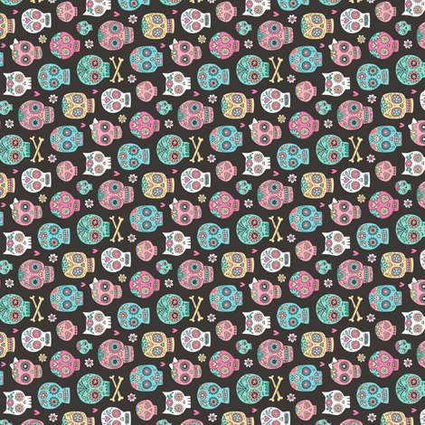 Sugar Skulls on Black Tiny Small Rotated fabric by caja_design on Spoonflower - custom fabric