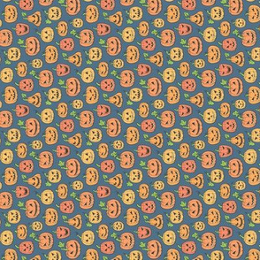 Halloween Jack-O-Lantern Scary Pumpkin Fabric  Orange on Dark Blue Navy Tiny Small Rotated