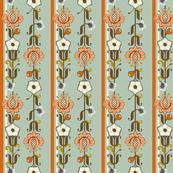Swedish Folk Art Vintage Floral Stripe
