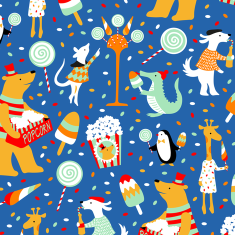 Yummy treats under the big top fabric by lilalunis on Spoonflower - custom fabric