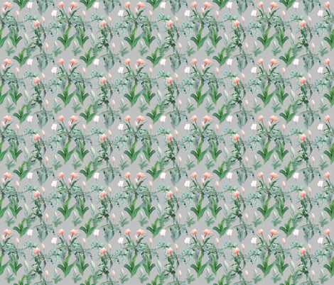 Tulips_on_grey_ground fabric by ruthjohanna on Spoonflower - custom fabric