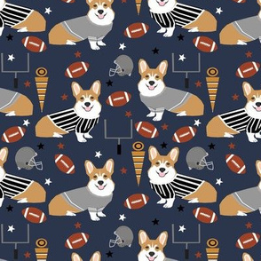 Corgi football sports fan fabric pattern navy