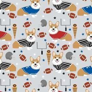Corgi football sports fan fabric pattern grey