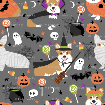 Corgi halloween costumes mummy vampire ghost just dog fabric grey