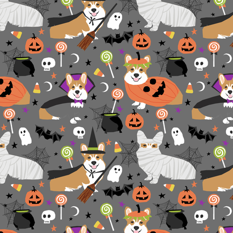 Corgi halloween costumes mummy vampire ghost just dog fabric grey  fabric by petfriendly on Spoonflower - custom fabric