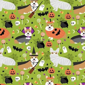 Corgi halloween costumes mummy vampire ghost just dog fabric bright  green