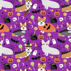 Corgi halloween costumes mummy vampire ghost just dog fabric purple