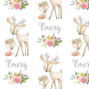 Personalized - Custom Name - Emery (woodland deer + fox, flowers)