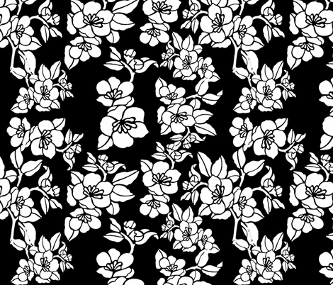 White Flowers On Black fabric by whimzwhirled on Spoonflower - custom fabric