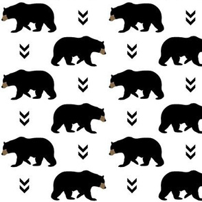 Bears & Arrows - Black Bear - Baby Nursery Woodland Animals Black and White Monochrome Kids Childrens Bedding