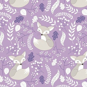 Gray Fox - Sleepy Foxes (lavender crocus) Baby Girl Nursery Woodland Animals Kids Childrens Bedding C2