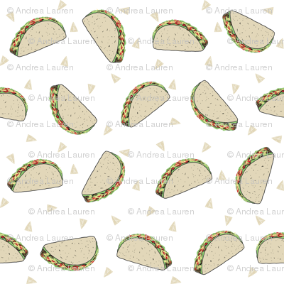 Taco food pattern white by andrea lauren