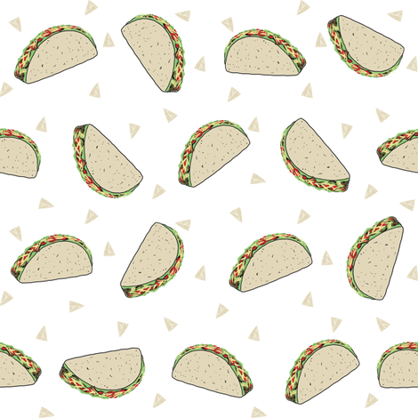 Taco food pattern white by andrea lauren fabric by andrea_lauren on Spoonflower - custom fabric