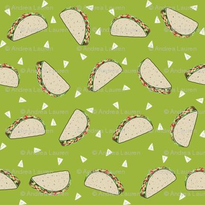 Taco food pattern light green by andrea lauren