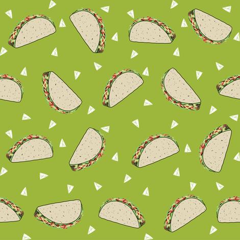 Taco food pattern light green by andrea lauren fabric by andrea_lauren on Spoonflower - custom fabric