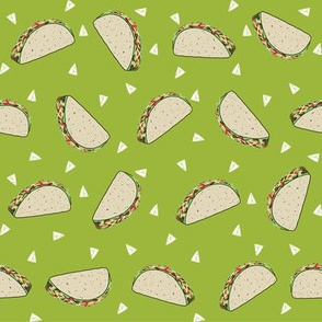 Taco food pattern light green by andrea lauren