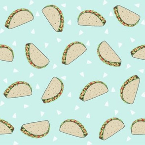 Taco food pattern light blue  by andrea lauren
