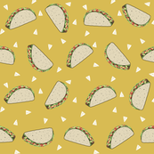 Taco food pattern mustard by andrea lauren