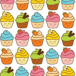 rainbow of happy cupcakes