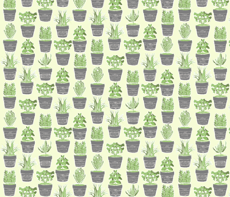 herbs in chalkboard pots - green background fabric by bubbledog on Spoonflower - custom fabric