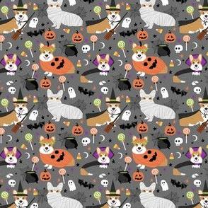 Corgi halloween costumes mummy vampire ghost just dog fabric grey (smaller version)