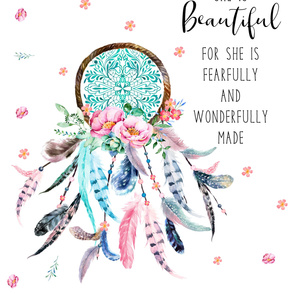 "56""x72"" She is Beautiful For She is Fearfully & Wonderfully Made Quote"