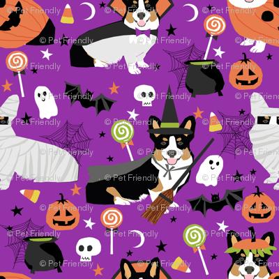 Tri-Colored Corgi halloween costumes mummy vampire ghost just dog fabric purple