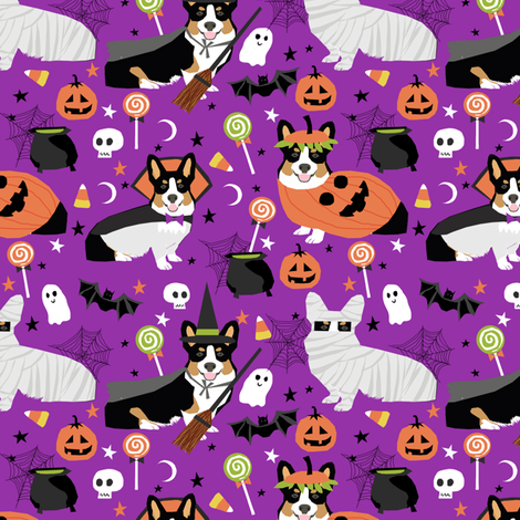 Tri-Colored Corgi halloween costumes mummy vampire ghost just dog fabric purple fabric by petfriendly on Spoonflower - custom fabric