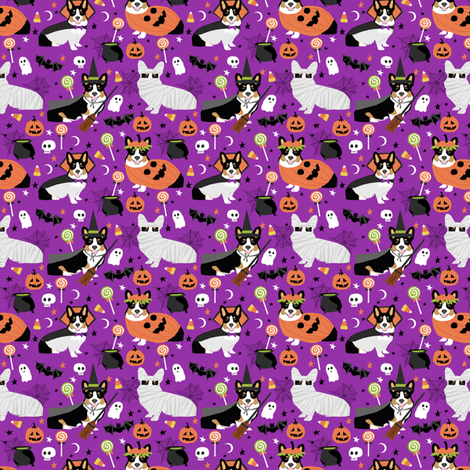 Tri-Colored Corgi halloween costumes fabric  mummy vampire ghost just dog fabric (smaller version) fabric by petfriendly on Spoonflower - custom fabric