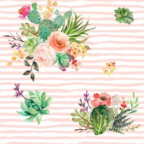 "8"" She is Fierce Floral Stripes / PINK"