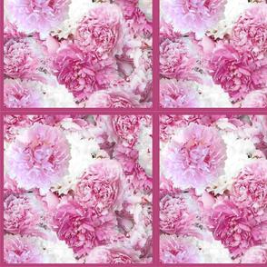 Pink Peonies Quilt Squares