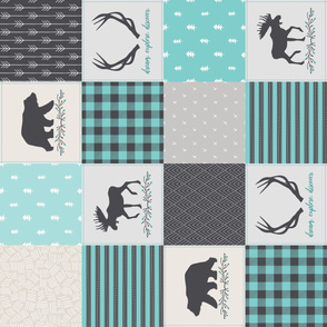 Woodland Patchwork Blanket Quilt Top ROTATED - Animals Cheater Quilt Bears Moose Antlers Nursery Baby Boy Blanket Panel - Smokey Grey + Teal- Ginger Lous
