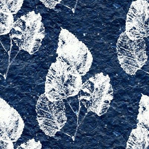 Ghost Leaves on Navy Blue