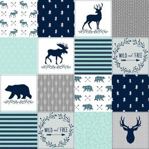 Wild & Free Cheater Quilt - Woodland Patchwork Bear Deer Moose - Navy Mint Grey Design Ginger Lous