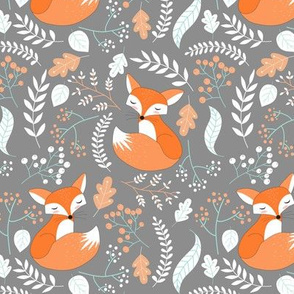 Fox - Sleepy Foxes (steel grey) Baby Nursery Woodland Animals Kids Childrens Bedding S4