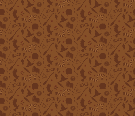 Wizarding Icons Bronze fabric by bluebirdworkshop on Spoonflower - custom fabric