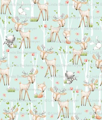 TINY Sweet Woodland Animals (soft mint) Deer Fox Raccoon Birch Trees Flowers Baby Girl Nursery Blanket Sheets Bedding C