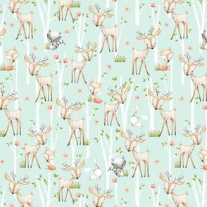 TINY Sweet Woodland Animals (soft mint) Deer Fox Raccoon Birch Trees Flowers Baby Girl Nursery Blanket Sheets Bedding C