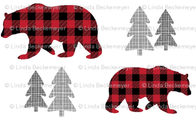 Bears & Trees – Red + Black Plaid Bear Buffalo Plaid Check Woodland Baby Boy Nursery Bedding