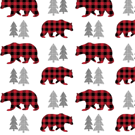 Bears & Trees – Red + Black Plaid Bear Buffalo Plaid Check Woodland Baby Boy Nursery Bedding fabric by gingerlous on Spoonflower - custom fabric