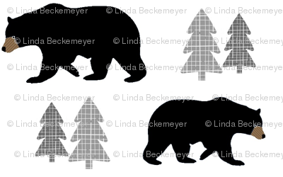 Black Bears & Trees – Woodland Bear Monochrome Baby Nursery Bedding Crib Sheets Blanket