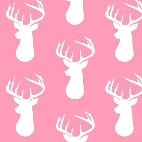Pink + White Deer Buck Silhouette – Woodland Baby Girl Nursery Bedding