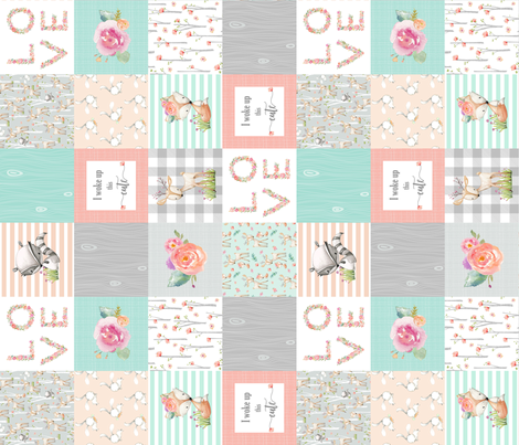 Woodland Animals Baby Girl Quilt Top (rotated) - Deer Fox Raccoon Woodland Patchwork Wholecloth Baby Blanket Gray Mint Peach  fabric by gingerlous on Spoonflower - custom fabric