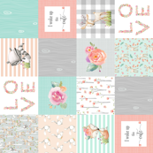 Woodland Animals Baby Girl Quilt Top (rotated) - Deer Fox Raccoon Woodland Patchwork Wholecloth Baby Blanket Gray Mint Peach