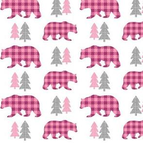 Bears & Trees – Gray, Raspberry + Pink Plaid Bear Buffalo Plaid Check Woodland Baby Girl Nursery Bedding