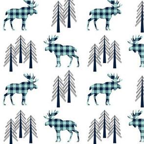 Plaid Moose & Trees - Navy + Mint Buffalo Plaid Lumberjack Baby Nursery Kids Childrens Bedding Woodland Animals